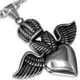 colgante gótico 56 - corona con alas y corazón