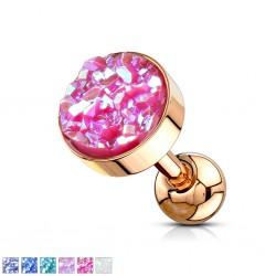 cartílago helix, tragus 221 - Druzy-stone gold-ip rosa