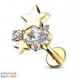Piercing micro-labret 130 - estrellas zirconas