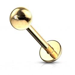 Piercing micro-labret 05 - chapado-oro Bola