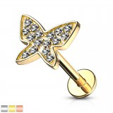 Piercing micro-labret 131 - PVD mariposa strass
