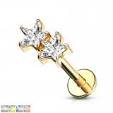 Piercing micro-labret 135 - dos estrella cristal