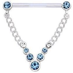 Piercing teton barbell 14 - Strass azul claro