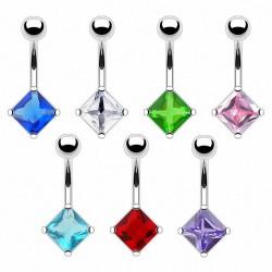Piercing ombligo cristal 08 - rectángulo