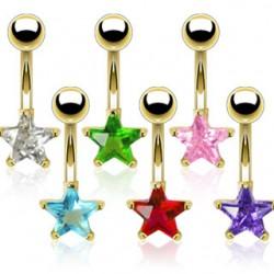 Piercing ombligo chapado-oro 03 - Cristal estrella