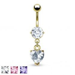 Piercing ombligo chapado-oro 06 - Cristal durante corazón