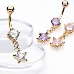 Piercing ombligo chapado-oro 07 - Cristal durante estrella