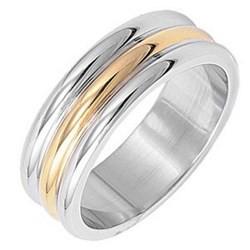 Anillo en titanio 08 - Gold-ip tres líneas arrondaies
