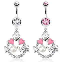 Piercing ombligo corazón 12 - Love perla