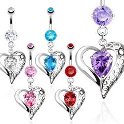 Piercing ombligo corazón 23 - zircona colorido