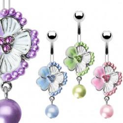 Piercing ombligo Flor 03 - hibisco y perla