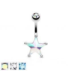 Piercing ombligo estrella 10 - Cristal y strass