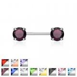 Piercing teton barbell 01 - zircona ronda