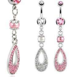 Piercing ombligo oval y perla (D95)