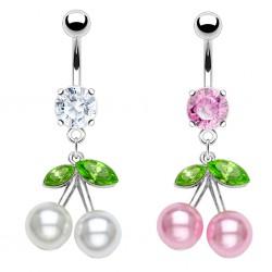 Piercing ombligo cereza en perla (D78)