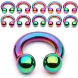 Piercing circular PVD rainbow Bolas 2 à 6mm