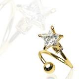 Piercing espirale 20 - zircona estrella chapado-oro
