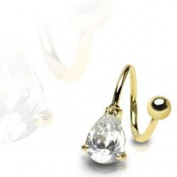 Piercing espirale 23 - gota chapado-oro