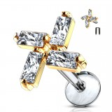 Piercing micro-labret 125 - cuatro zirconas rectangulars gold-ip