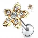 Piercing micro-labret 123 - Flor con strass gold-ip
