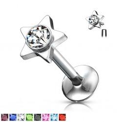 Piercing micro-labret 31 - Strass in estrella