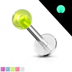 Piercing labret UV 01 - fluorescente Bola