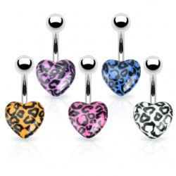Piercing ombligo UV 58 - corazón pantera