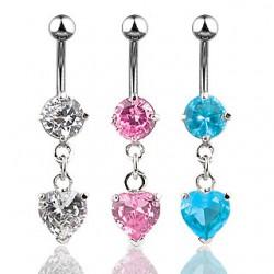 Piercing ombligo cristal 01 - corazón lujo