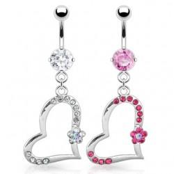 Piercing ombligo corazón 02 - Multistrass y Flor
