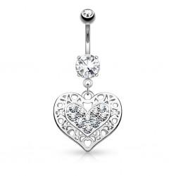Piercing ombligo corazón 10 - Dix zirconas transparentes