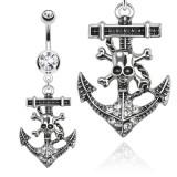 Piercing ombligo ancla marine 04 - cuerda y cráneo