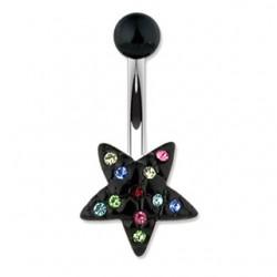 Piercing ombligo estrella 09 - negro