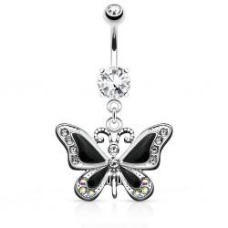 Piercing ombligo mariposa alas negros con strass (04)