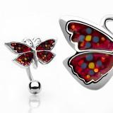 Piercing ombligo mariposa con lentejuelas invertida (48)