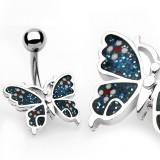 Piercing ombligo mariposa azul lentejuelas (79)