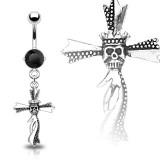 Piercing ombligo cruz 11 - cabeza de la muerte couronnée