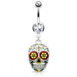 Piercing ombligo gótico 23 - cráneo mexicano C