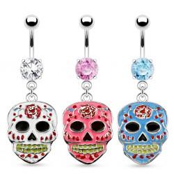 Piercing ombligo gótico 07 - cráneo mexicano B