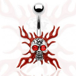 Piercing ombligo gótico 28 - cráneo fondo rojo