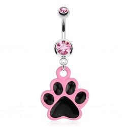 Piercing ombligo gótico 31 - Patte de gato rosa y negro