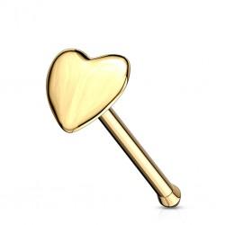 Piercing stud de nariz 0.5mm 51 - Or-9k corazón
