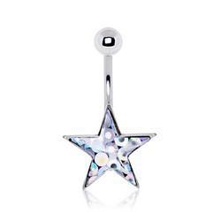 Piercing ombligo estrella 06 - Glitter transparente