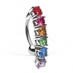 Piercing ombligo Gay pride 03 - cristales invertidas