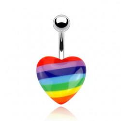 Piercing ombligo Gay pride 01 - corazón acrílico
