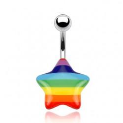 Piercing ombligo Gay pride 06 - estrella acrílico