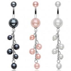 Piercing ombligo cascada de perlas (D21)