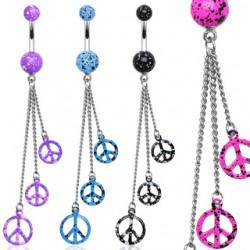 Piercing ombligo peace and love cadenattes (D114)