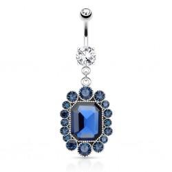 Piercing ombligo vendimia zirconas azuls (D132)