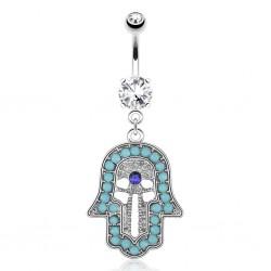 Piercing ombligo mano fatma perlas turquesas (D51)