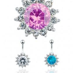Piercing ombligo Flor cristalline (D86)